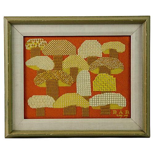 Framed Mushroom Needlepoint