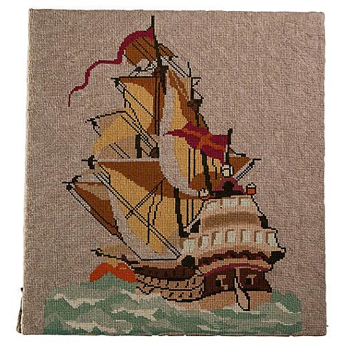 English Sailing Ship Needlepoint
