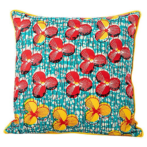 Red & Yellow African Wax Print Pillow