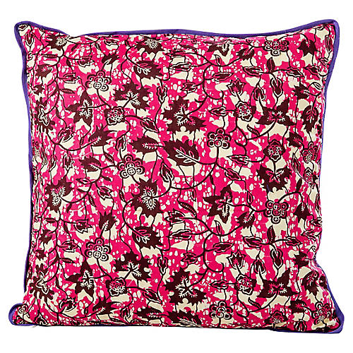 Red African Wax Print Pillow