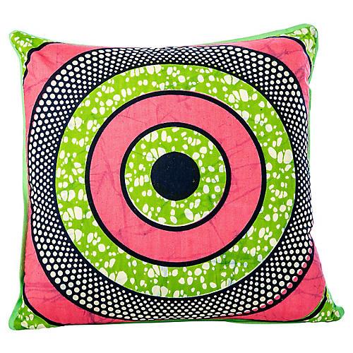 Pink & Green African Bullseye Pillow