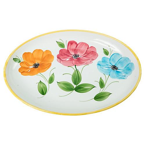 Italian Floral-Painted Ceramic Platter