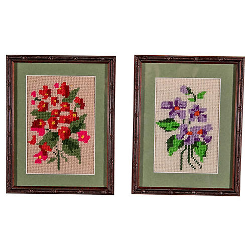 Pink & Purple Floral Needlepoints, S/2