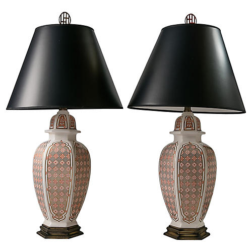 Gothic-Style Table Lamps, Pair