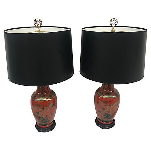 Chinoiserie Table Lamps, Pair