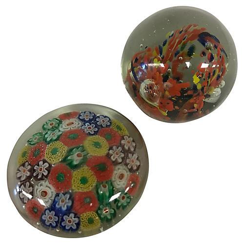 Murano Glass Paperweights, S/2