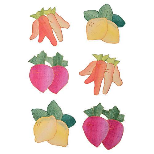 Linen Vegetable Shaped Coasters, S/6