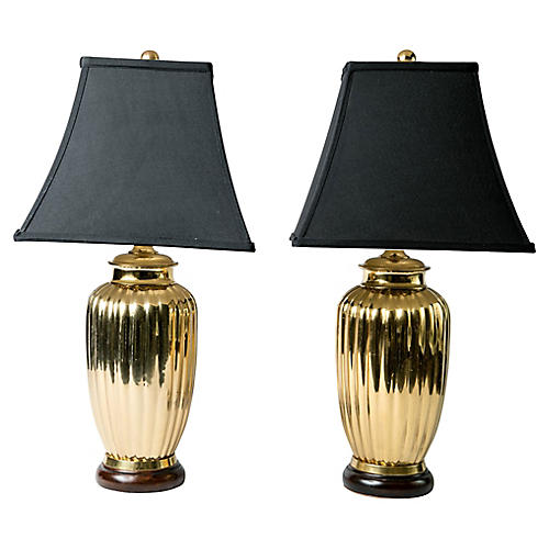 Art Deco Brass Table Lamps, Pair