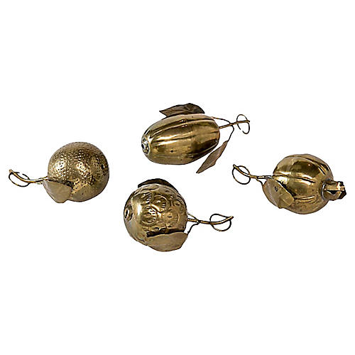 Decorative Brass Fruit, S/4
