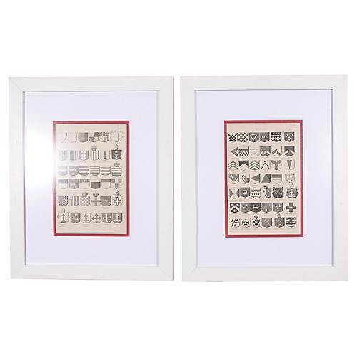 19th-C. Heraldic Prints, S/2