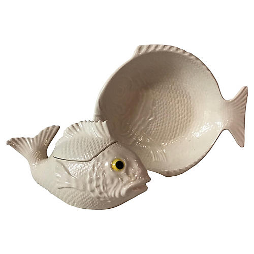 Ceramic Fish Bowl and Lidded Dish, S/2