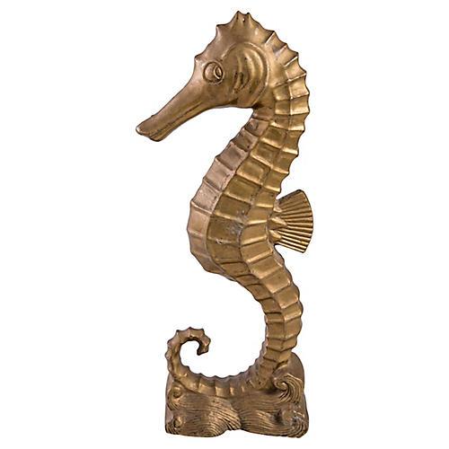 Brass Seahorse Statuette