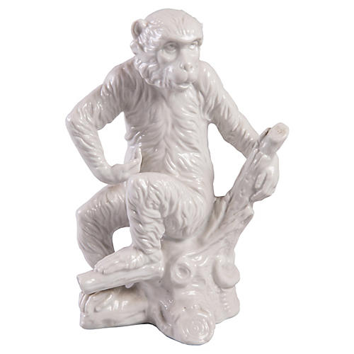White Porcelain Monkey Statuette