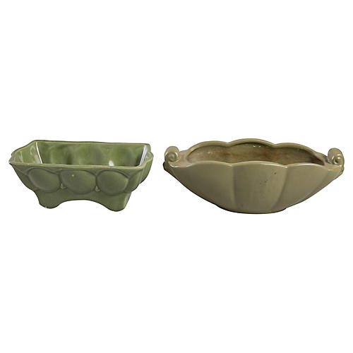 Green ceramic dishes, S/2