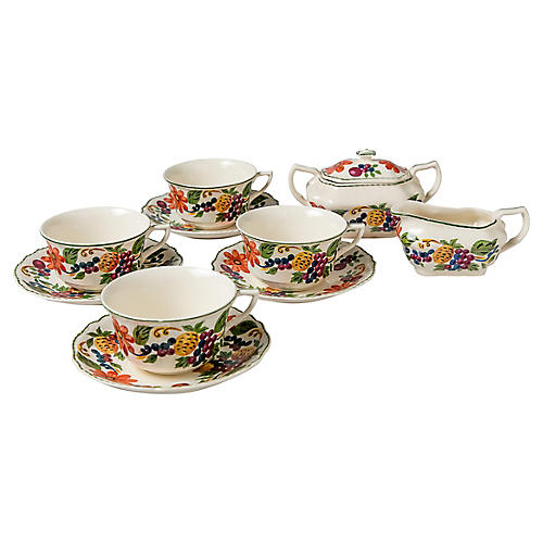 Fruit & Floral Tea Set, 10 Pcs