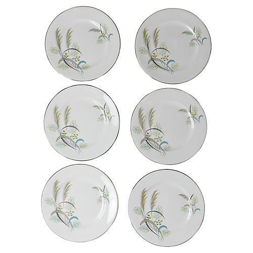 English Floral Cake Plates, S/6