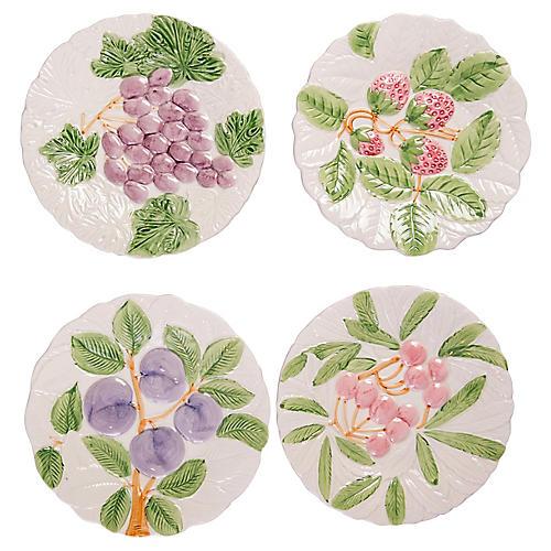 Fruit-Themed Dessert Plates, S/4