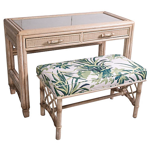 Rattan Vanity Table & Bench