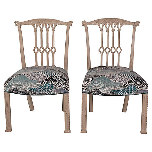 English Madcap Side Chairs, Pair