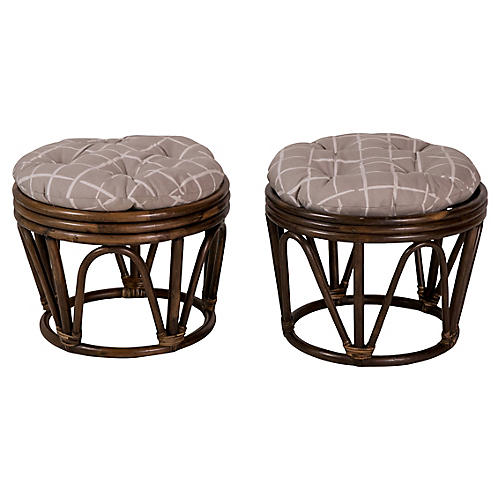 Rattan Button-Tufted Stools, Pair