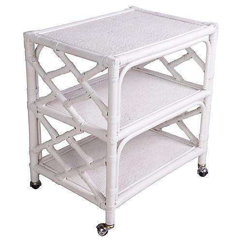 White Wicker 3-Tier Bar Cart