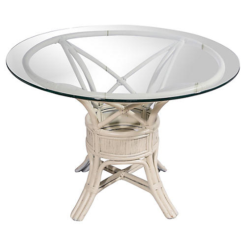White Rattan Dining Table