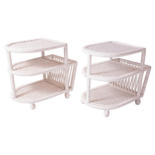 White Wicker Side Tables, Pair