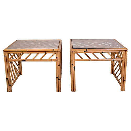 Bamboo Fretwork Side Tables, Pair