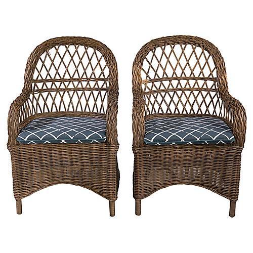 Rattan Chairs, Pair