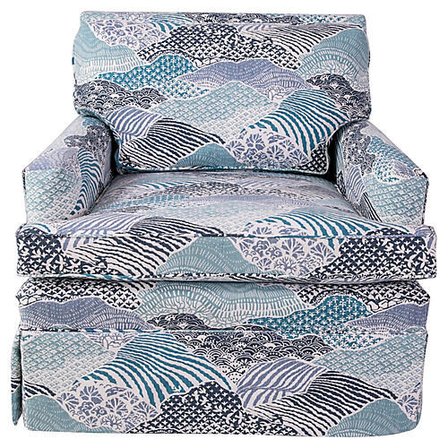 Custom Blue & White Madcap Armchair
