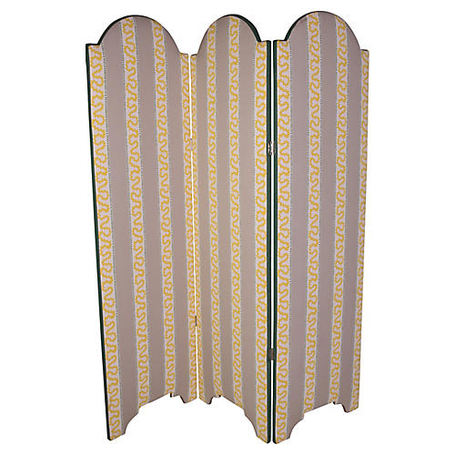 Custom Madcap 3 Panel Upholstered Screen