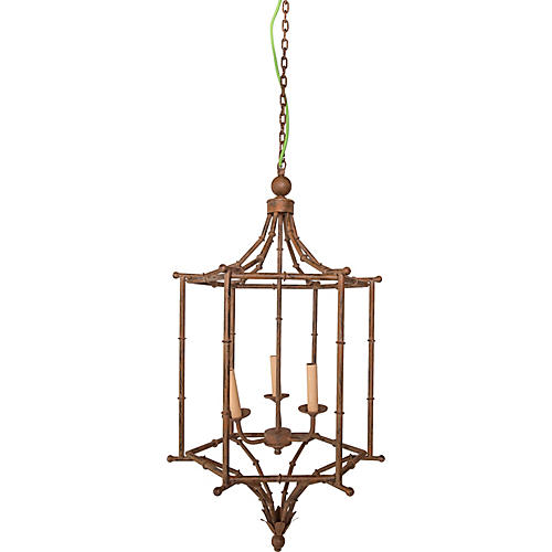 Metal Bamboo-Style Lantern