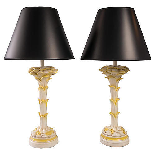 Palm Table Lamps, Pair
