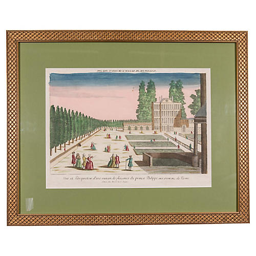 Hand-Colored Garden Engraving