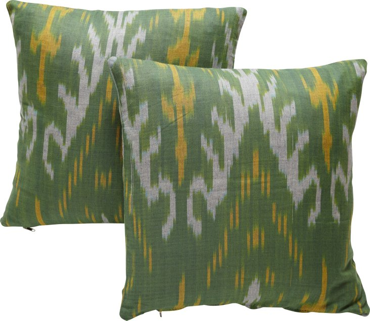 Custom Green & Yellow Ikat Pillows, Pair