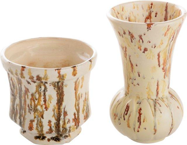 Speckled Glaze Vases, Pair