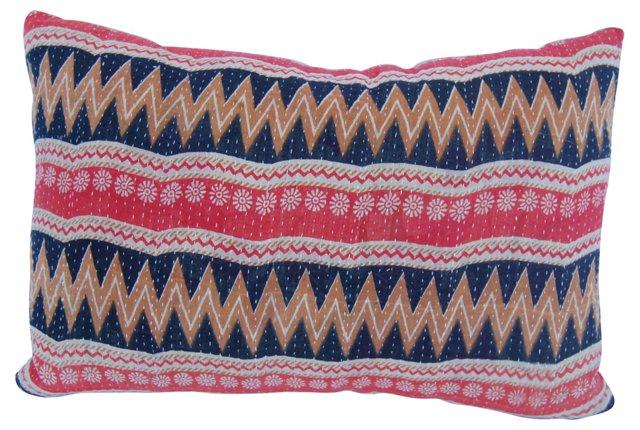 Kantha Cloth Zigzag Pillow