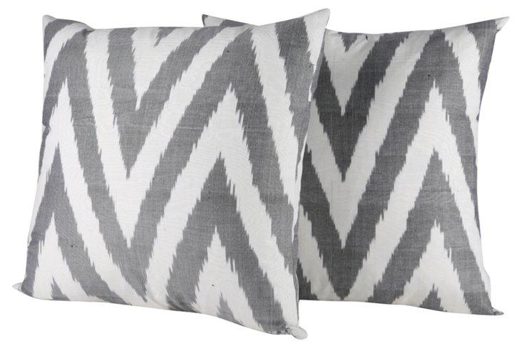 White & Black Ikat    Pillows, Pair