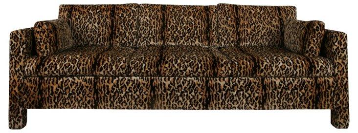Leopard-Print  Velvet Sofa