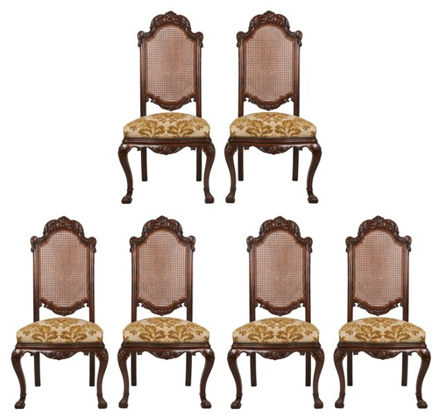 Antique Spanish Side Chairs, S/6