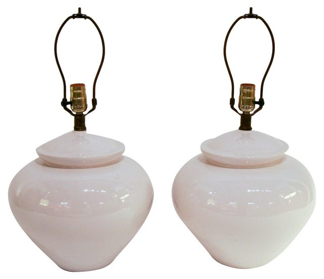 White Asian-Style Lamps, Pair