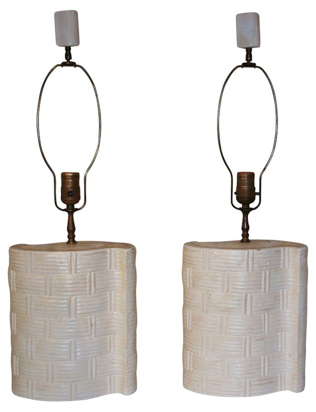 Midcentury Pottery Lamps, Pair