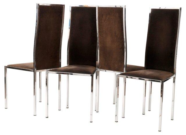 Corduroy & Chromed Steel Chairs, S/4