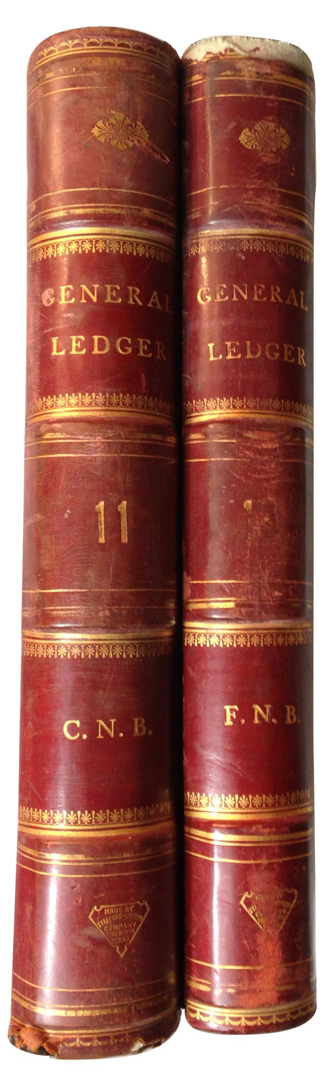 Oversize Leather Ledgers, Pair