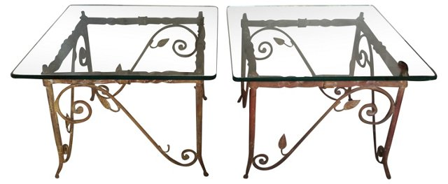 Wrought Iron Garden Tables, Pair