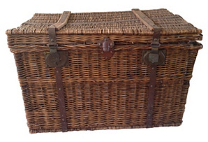 French Metal-Strapped Wicker Trunk