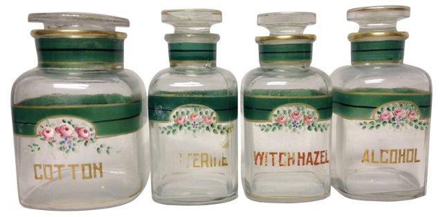 19th-C. Apothecary Jars, S/4