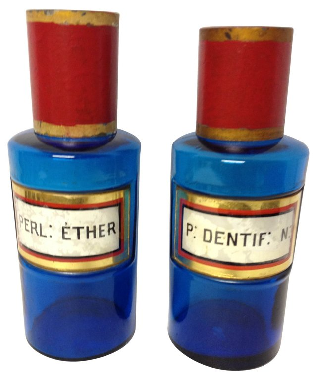 French Blue Apothecary Jars, Pair