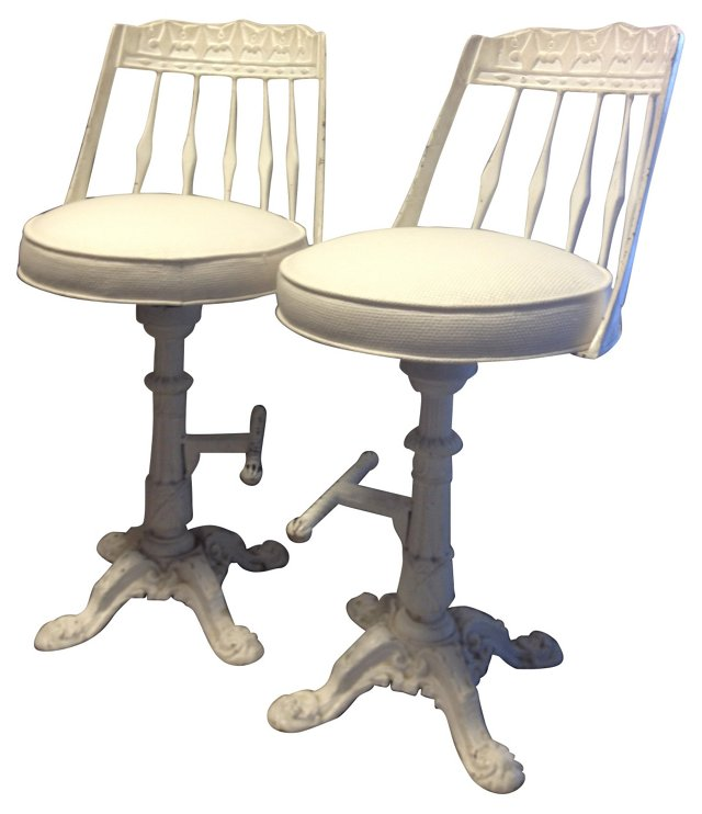 Cast Iron Swivel Stools, Pair