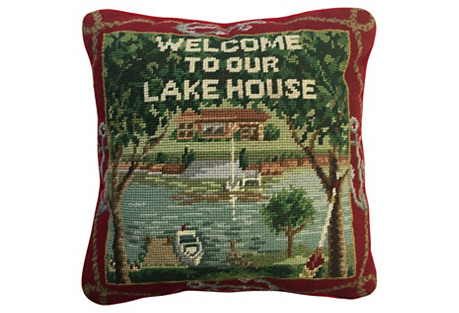 Welcome Lake House Needlepoint Pillow